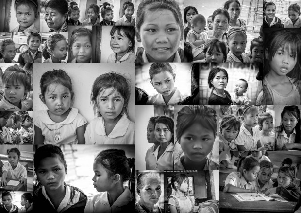 Lotus girls collage - from the rice paddies to the classroom - © Luis Murillo/Lotus Educational Fund