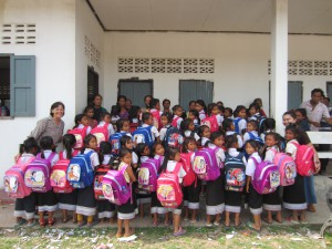 Helen Keogh and an excited group of Grade One Lotus girls after receiving their school supplies in May 2014- © Helen Keogh/Lotus Educational Fund