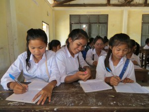 Lotus Secondary girls eager to learn inside the classroom.