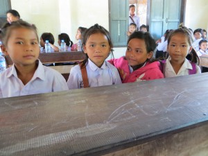The Lotus girls inside the Primary classroom in Feb 2015.