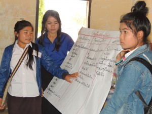 The girls sharing their learning back at the school.